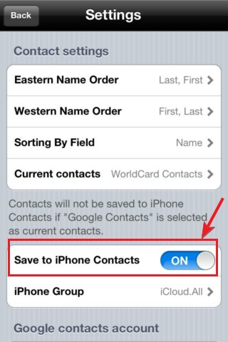 WorldCard Contacts and Google Contacts?
